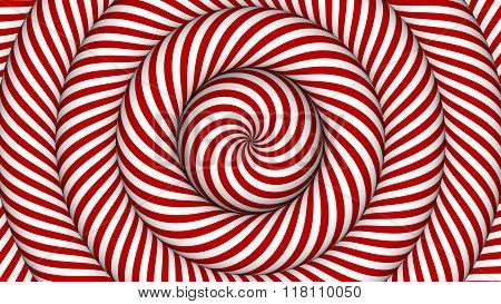 hypnotic background with red and white concentric circles in motion