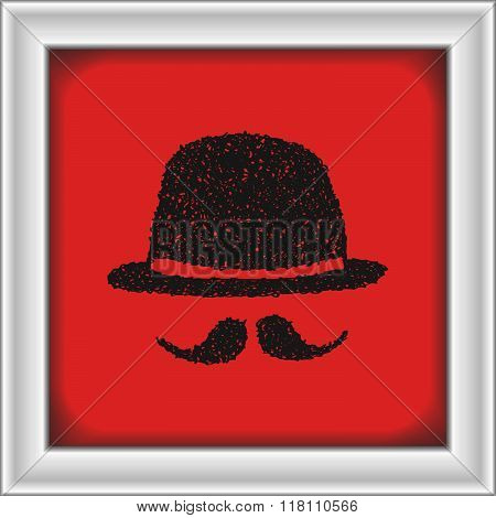 Simple Doodle Of A Bowler Hat And Moustache