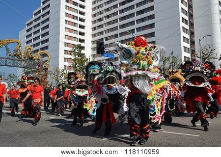 Chinese Lions During The 117Th Golden Dragon Parade,