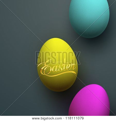 Easter Eggs With Holiday Golden Lettering