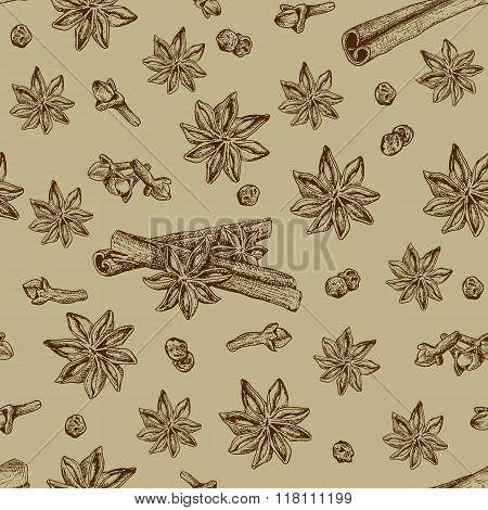 Seamless seasoning pattern with star anise and other condiment