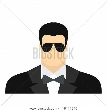 Bodyguard agent man flat icon