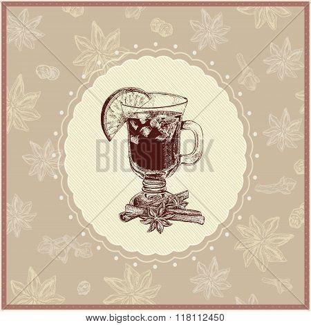 Gentle mulled wine illustration with seasoning ingredient background