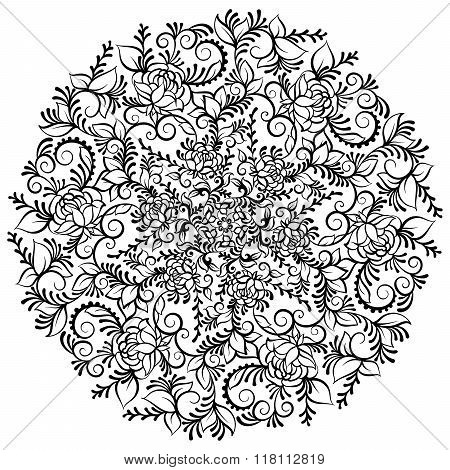 Hand drawn ornate fantasy flower in the crown of leaves and swirls. Isolated Vector illustration. Fl