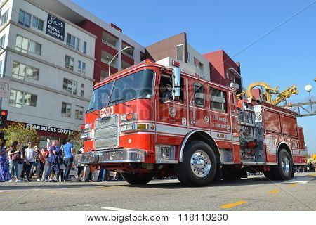 Fire Truck During The 117Th Golden Dragon Parade