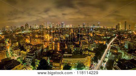 Tel Aviv by night aerial panorama