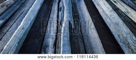 Blue Driftwood Background Texture - Wood And Timber In Diminishing Perspective.