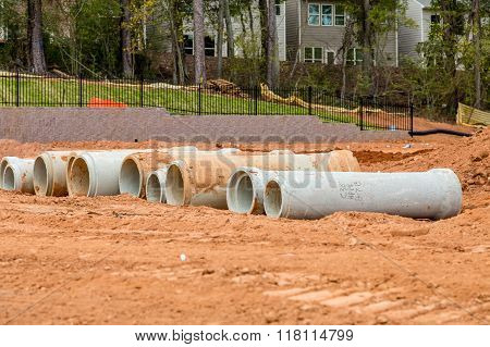 Concrete Sewer Pipes At Construction Site