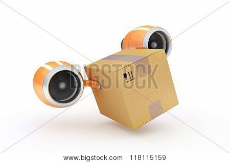 Fast Delivery Of Cargo In A Cardboard Box On A White Background