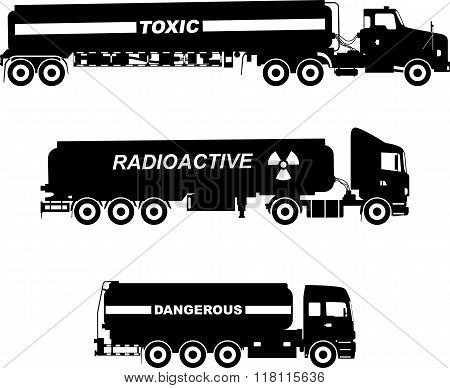 Set of different silhouettes cistern trucks carrying chemical, radioactive, toxic, hazardous substan