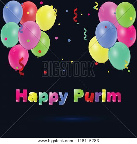 Happy Purim. Party Colorful Background With Confetti.