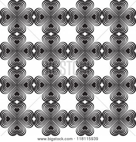Seamless Geometric Pattern With Stylized Hearts. Repeating Vintage Texture. Abstract White And Black