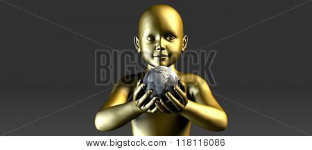 Child Holding Globe and Smiling At the Future