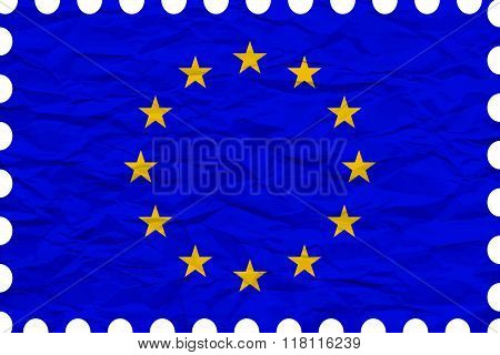 Wrinkled Paper European Union Stamp