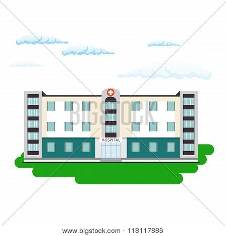 Hospital Building In Flat Style. Outdoor Facade