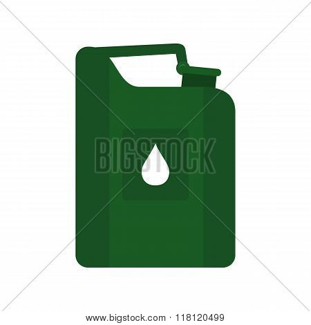 Green jerrycan oil flat icon