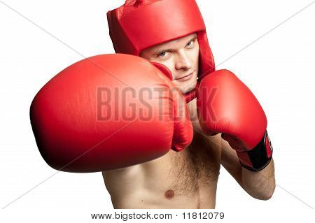 Professional Boxer Attacking Isolated On White Background