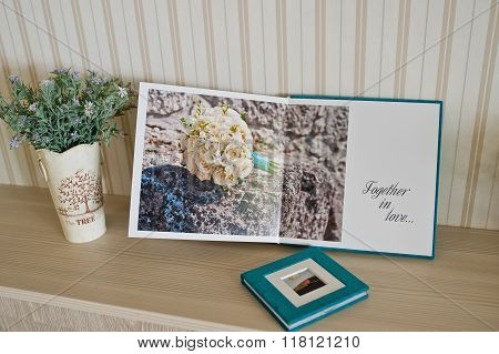 Open Page At Wedding Photobook And Album