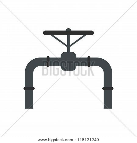 Pipeline with valve and handwheel flat icon