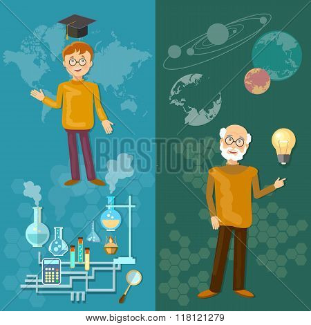 Science And Education Teachers School Board Schoolboy Professor Astronomy Chemistry Laboratory