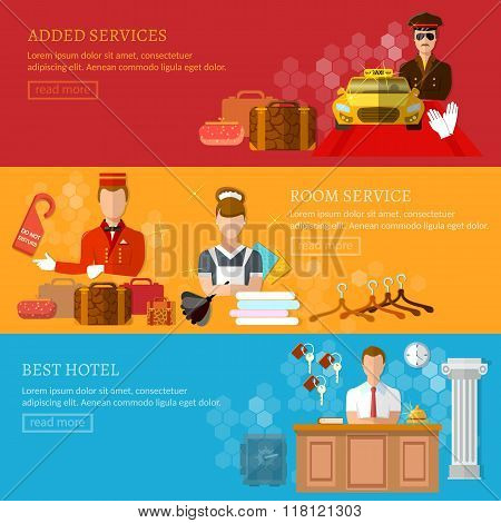 Hotel Service Banner Reception Reservation Cleaning Concierge Taxi Driver Vector Illustration