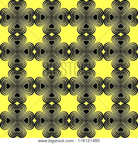 Seamless Geometric Pattern With Stylized Hearts. Repeating Vintage Texture.Abstract Yellow And Black