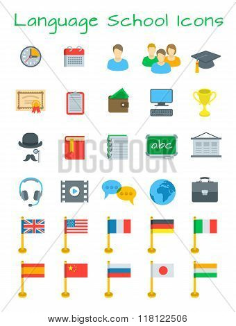 Language Courses Flat Vector Education Icons