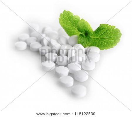 Analogue of sugar cubes and stevia  isolated on white background