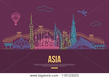 Asia travel background with place for text. Isolated Asian outlined sightseeings and symbols. Skylin