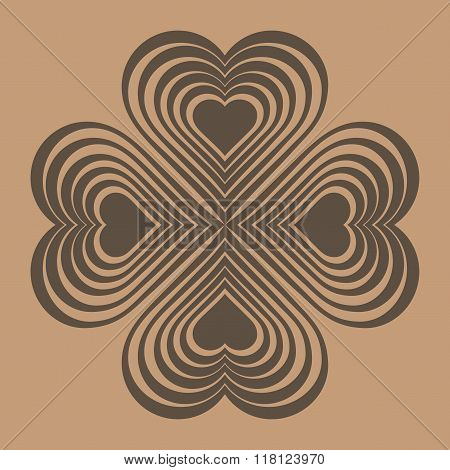 Brown Celtic Heart Knot - Stylized Symbol. Made Of Hearts. Four-leaf Clover. Isolated Design Element