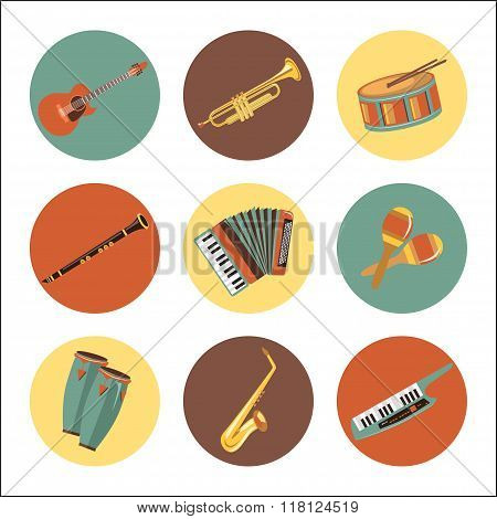 Set of music instruments icons. Flat style design.