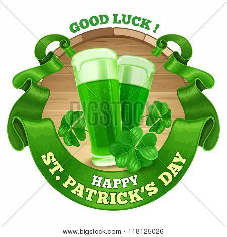 Saint Patricks Day Emblem Design with Goblets of Green Beer, Shamrock, and Rounded Vintage Green Ribbon. Vector Illustration. There is Space For Your Text.