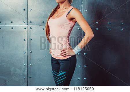 Sportswoman showing perfect female body in sports clothing sportswear concept sport healthy lifestyl