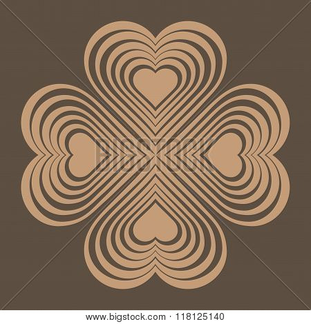 Beige Celtic Heart Knot - Stylized Symbol. Made Of Hearts. Four-leaf Clover. Isolated Design Element