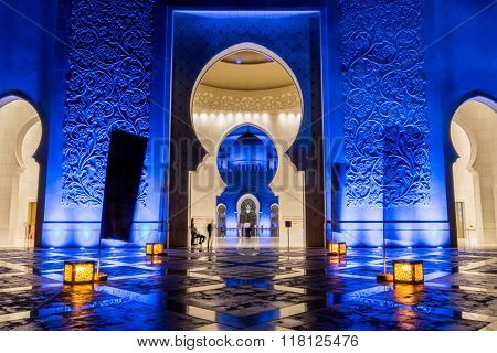 Sheikh Zayed Mosque By Night In United Arab Emirates
