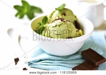 Homemade Mint Ice Cream With Chocolate Chips.