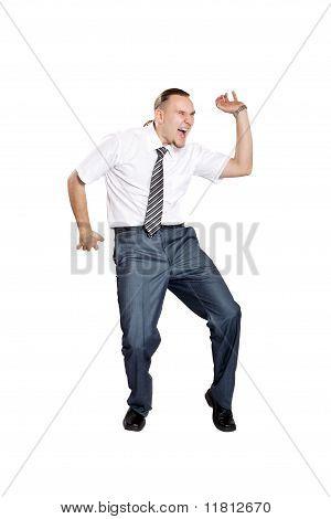 Empresário, dançando e gritando