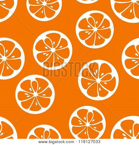 Cute seamless pattern with orange slices