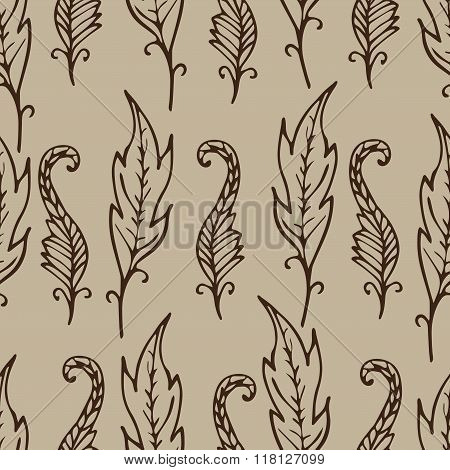 Repeating Floral And Feather Pattern. Seamless Texture With Doodle Leaves. Beige And Brown Colors.