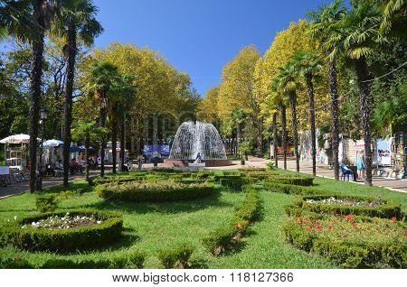 View Of The Fountain In The Park Riviera City Of Sochi, Russia