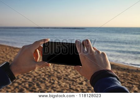Man Hands Mobile Photography Beach Sea