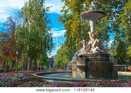 Lovely fountains in the city of Madrid's Retiro park.