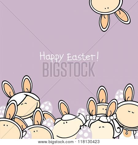 Happy Easter greeting card with a group of funny kids in bunny costumes and Easter eggs