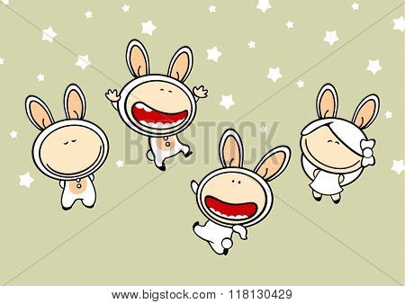 Set of images of funny kids #82, white bunny theme