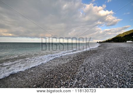View Of The Beach In The Gagra, Abkhazia