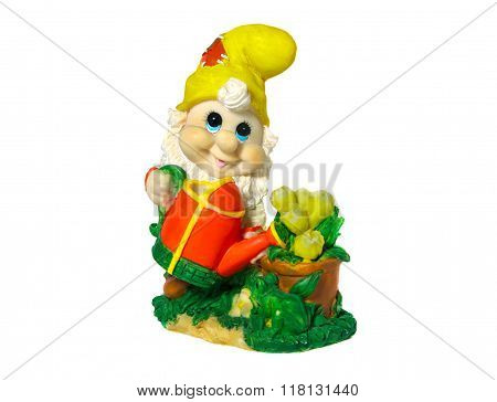 Figurine Gnome With A Watering Can To Water The Flowers. Isolated On White Background