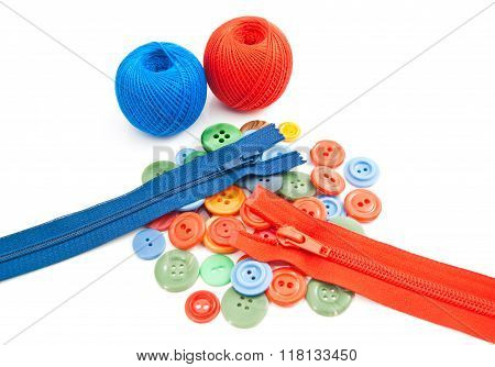 Colorful Buttons, Tangles Of Thread And Zippers