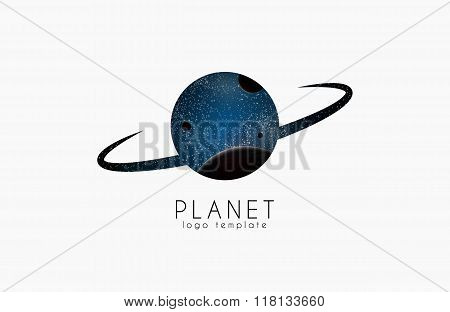 planet logo. space logotype. Cosmic vector illustration. Logo for  company. Creative logo