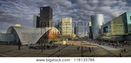 Business district in Paris with skyscrapers