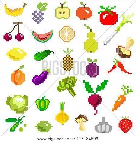 pixel art fruit and vegetables on white